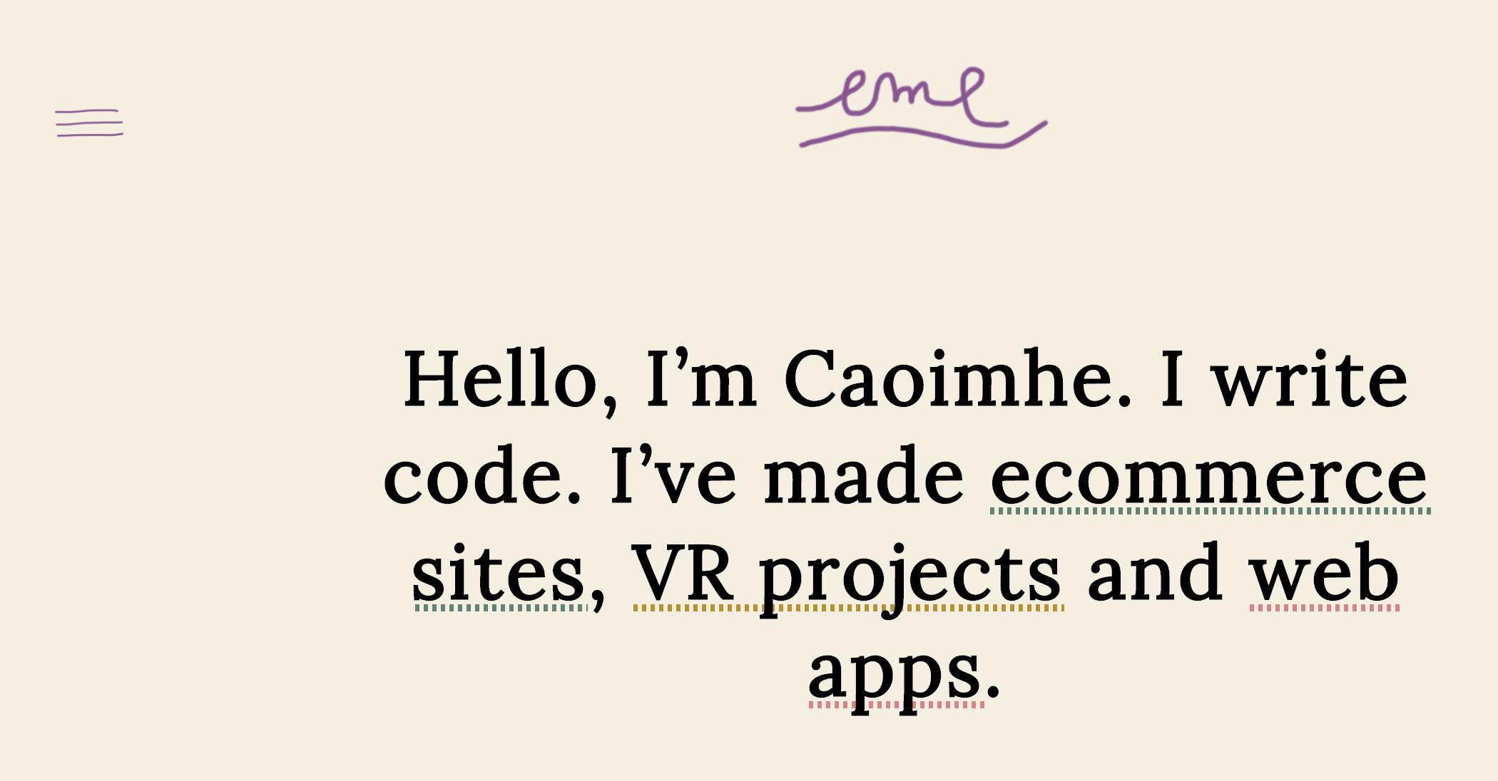 Caoimhe Morgan-Feir portfolio site