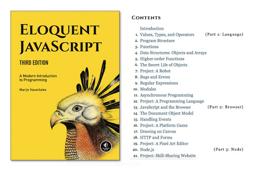 Eloquent JavaScript book cover and chapters