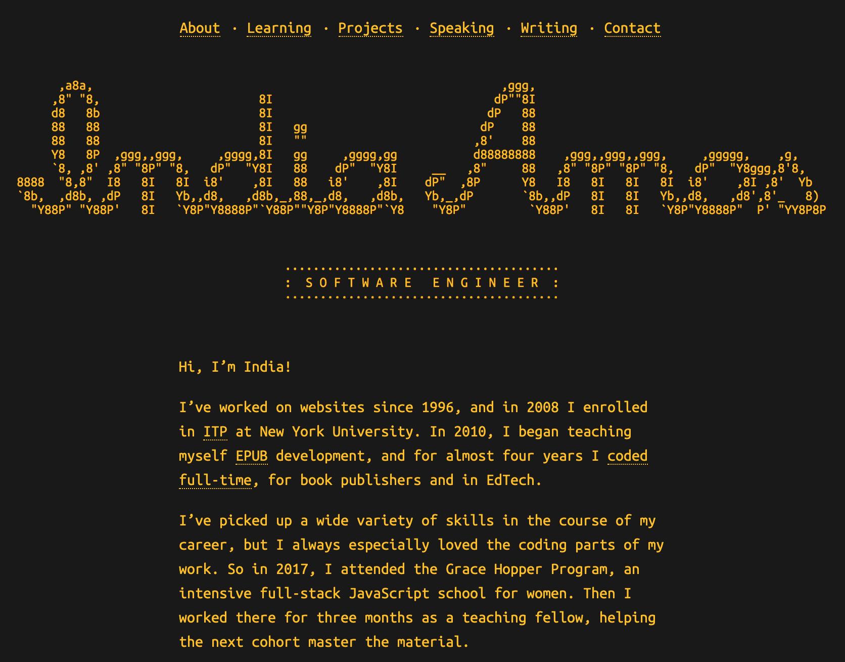 India Amos portfolio site