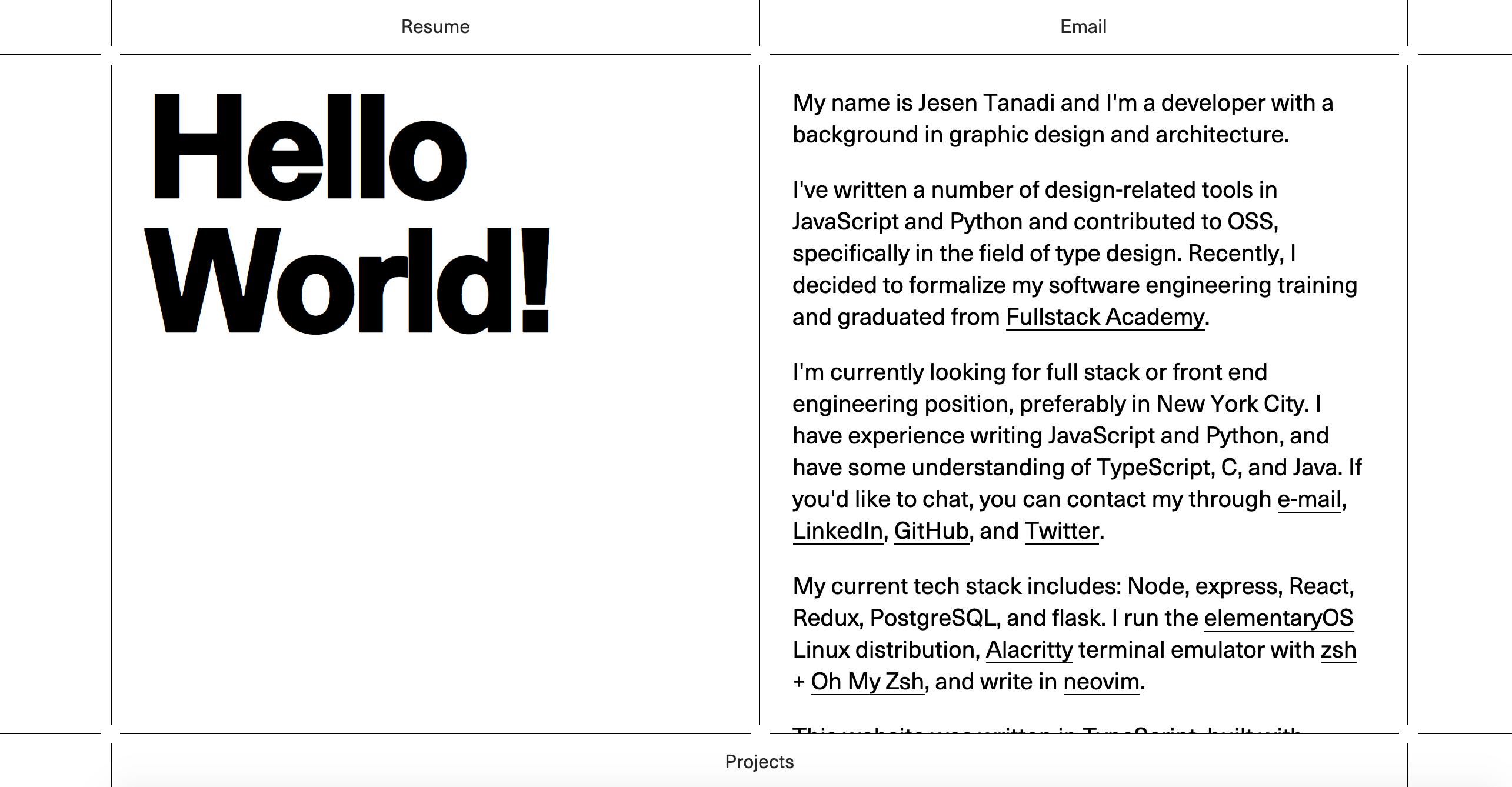 Jesen Tanadi portfolio website
