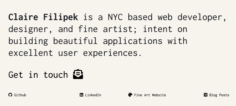 Claire Filipek portfolio site