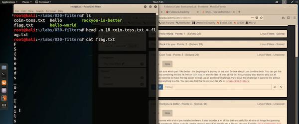 Screenshot of someone learning command line basics