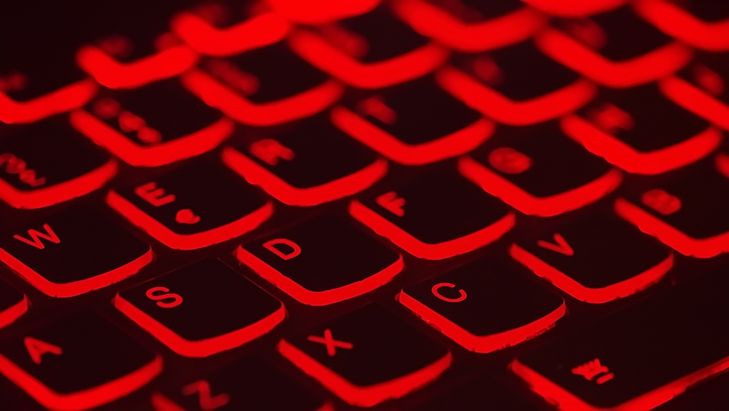 Keyboard with glowing red keys
